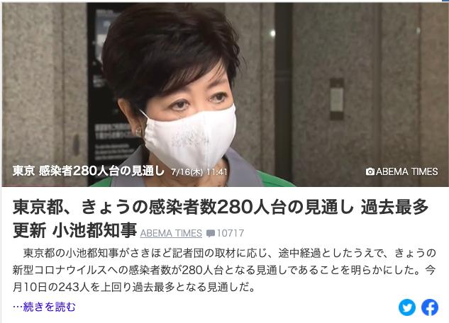 【速报】东京都确认新增280人以上 单日感染人数破纪录